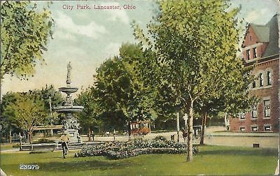 OLD VINTAGE CITY PARK IN LANCASTER OHIO POSTCARD