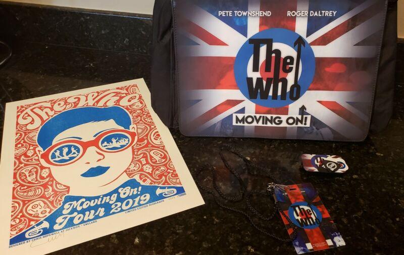 THE WHO: MOVING ON! 2019 VIP LIMITED POSTER, PICK SET, LAMINATE, SHOULDER BAG.
