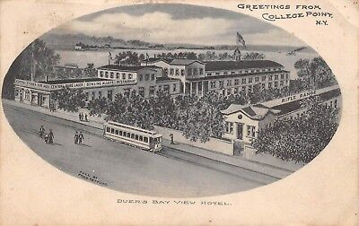 COLLEGE POINT, QUEENS, NY, DUER'S BAY VIEW HOTEL, TROLLEY ARTIST IMAGE used 1907 for sale  Shipping to Canada