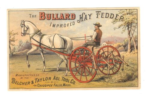 X-TRADE CARD-BULLARD HAY TEDDER-BELCHER&TAYLOR AGL.TOOL CO.,MASS.-TC-023