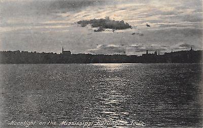 Burlington Iowa~City Skyline~Moonlight~Mississippi River~Clouds~1907 Rotograph - Burlington City