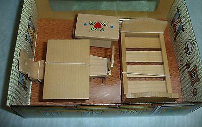 Puppenmöbel Naturholz, Puzppenmöbel-Set  - Neu