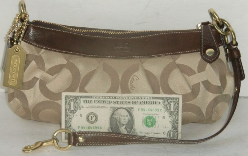 Coach Madison OPArt Sig Sateen Khaki/Brown Leather Pleated Satchel #12950 Sm