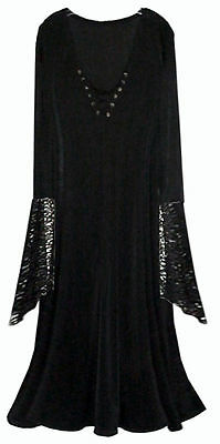 Sexy Black Velvet Lace-up Dress Dark Angel Witch Costume PLUS SIZE S to 9x - Black Lace Kleid Kostüm