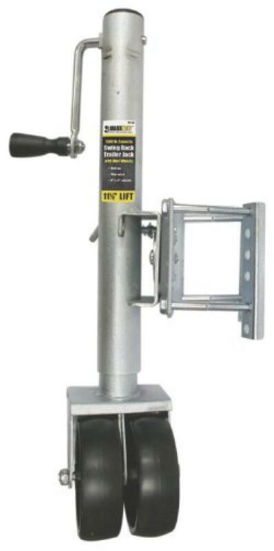 """MaxxHaul  70149 26-1/2"""" to 38"""" Lift Swing Back Trailer Jack with Dual Wheels"""