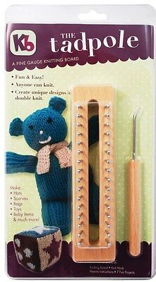 """KB Wood Tadpole 6"""" Knitting Board Loom with hook and 7 patterns KB3517"""