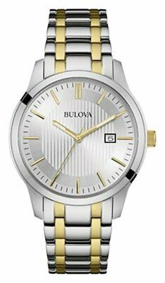 Bulova Men's Two Tone Stainless Steel Silver Dial Bracelet Analogue Watch