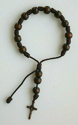 St Pio Rosary Beads Full Rosary Brown Glass Beads Purse Padre Pio Junction