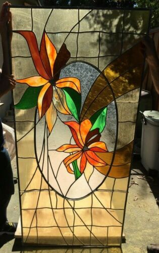 """Large 71""""x33.5"""" Leaded Stained Glass Window Panel Multicolor- Flower #2"""
