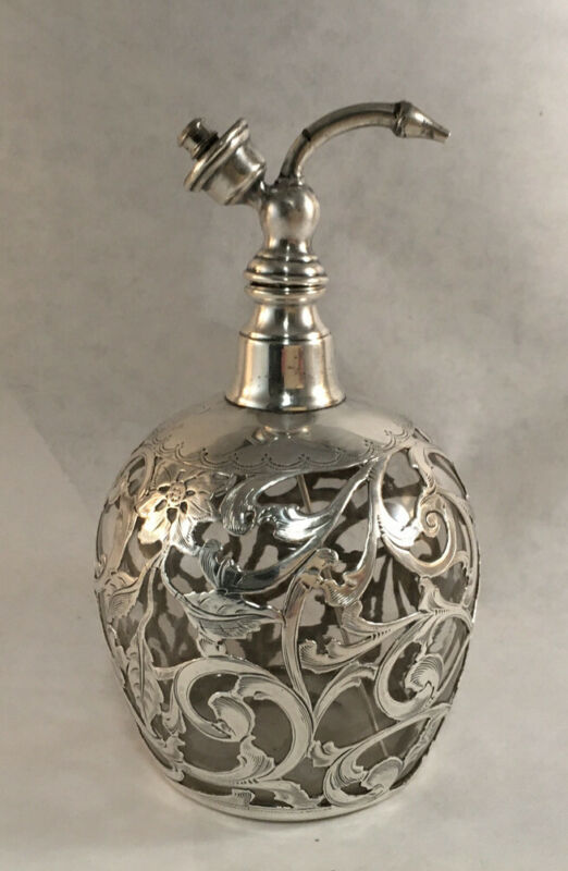 ANTIQUE STERLING OVERLAY GLASS PERFUME BOTTLE ATOMIZER ART NOUVEAU PATTERN
