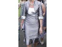 Mother of the Bride Linea Raffaelli Anthracite/Ivory dress & bolero jacket/size 12 inc Fascinator