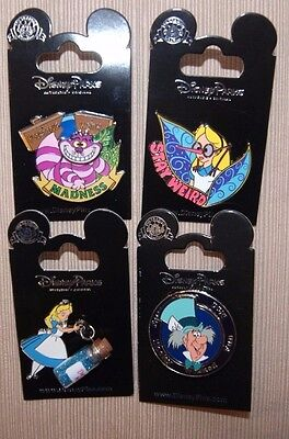 Disney Alice Wonderland Drink Me Vial Mad Hatter Cheshire Cat Spinner 4 Pin Set