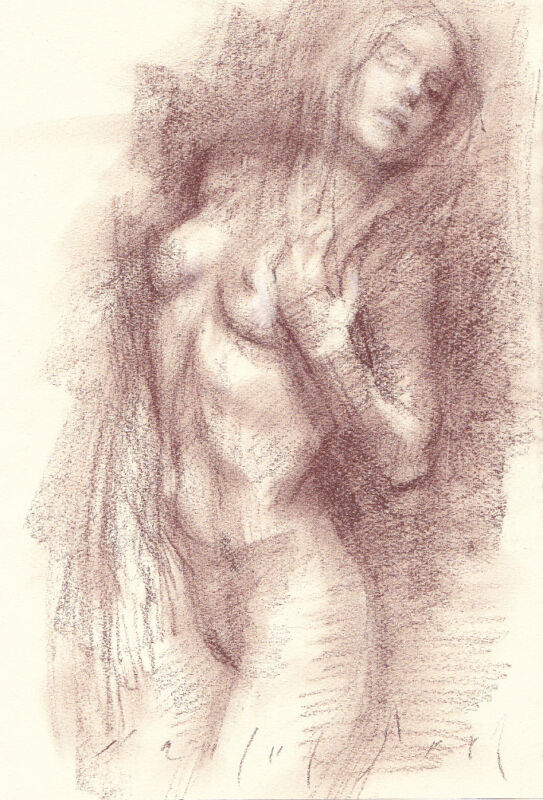 ECSTATIC Standing Female Nude Realistic Sketch Conte Crayon Life Drawing new Art