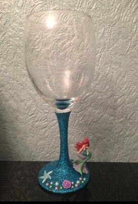 Disney Ariel Figure Glittered Wine Glass x The Little Mermaid xx Princess xx