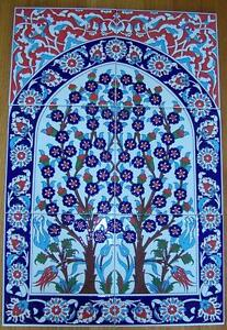 Turkish-16-x24-Tree-of-Life-Handpainted-Raised-Ceramic-Tile-PANEL-Mural
