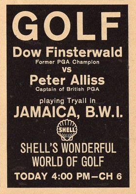 1963 TV GOLF AD~JAMAICA,BWI COURSE~DOW FINSTERWALD VS PETER ALLISS~SHELL