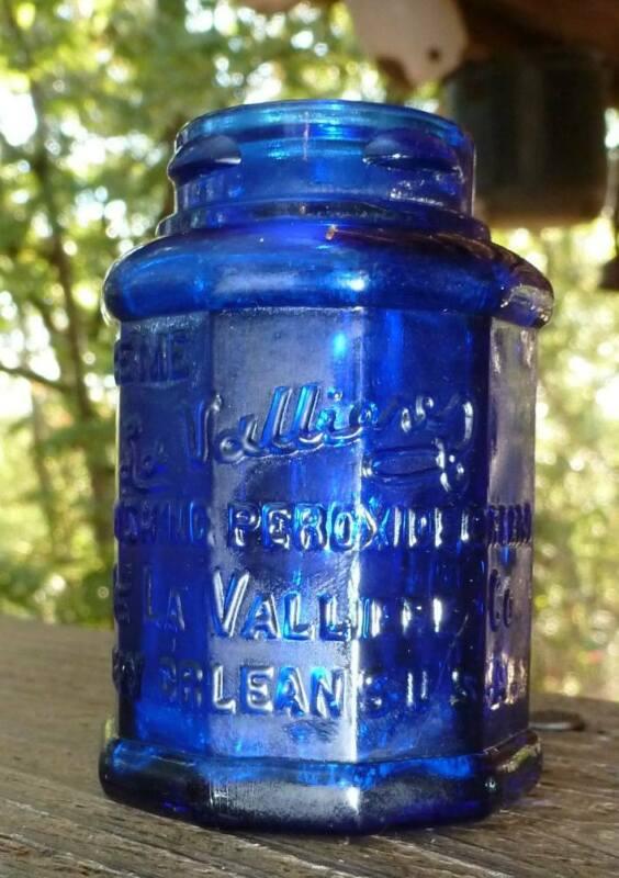 LOUISIANA COSMETIC JAR-LaValliere-New Orleans-Dark Cobalt Blue-1920s