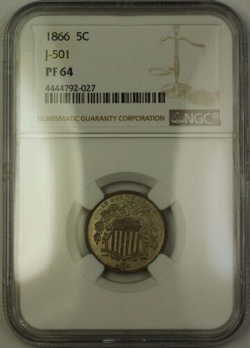 1866 Shield Nickel Pattern Proof 5c Coin Ngc Pf-64 J-501 Judd Ww