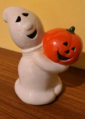 "Vtg Ceramic Ghost Holding Pumpkin 7"" Hand Painted Votive Halloween Decoration"