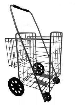 Gna Utility Shopping Cart Foldable Jumbo Basket Outdoor Grocery Laundry Black