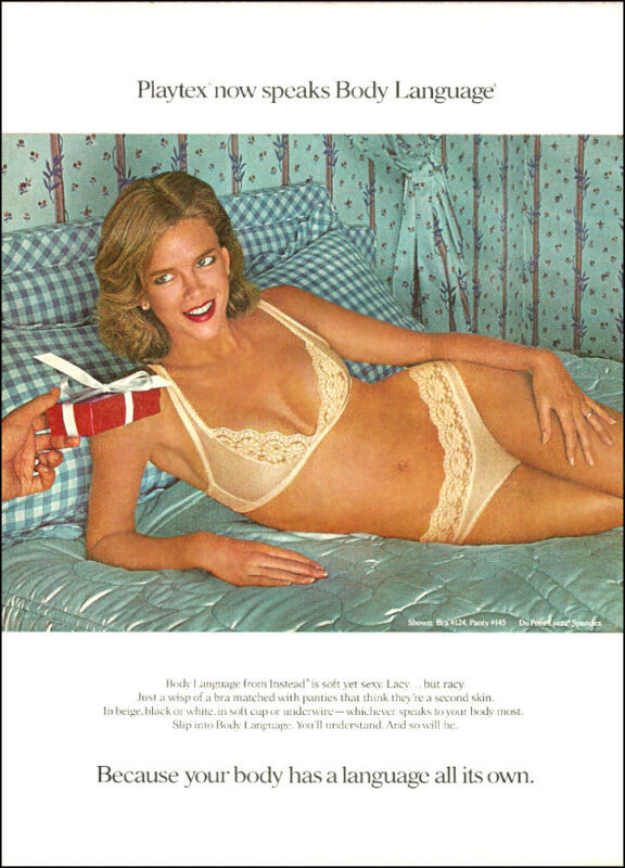 1980 Lingerie AD, PLAYTEX Body Language Bra and Panties sexy lacey 110114