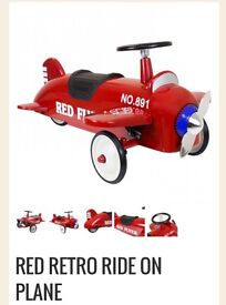 Kids retro ride on plane red metal new in box
