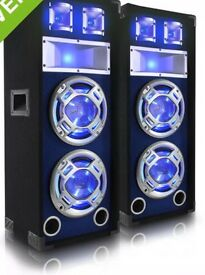 "2x SkyTec dual 10"" blue led speakers"