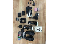 Collection of Bronica medium format cameras with accessories