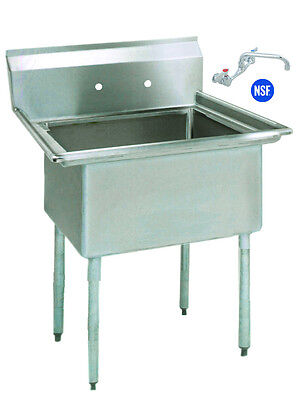 Stainless Steel 1 One Compartment Utility Prep Mop Sink 23 X 24 With Faucet
