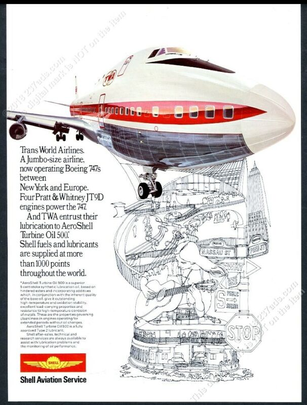 1971 Aloha Airlines 737 plane Hawaii art Shell Aviation Oil vintage print ad