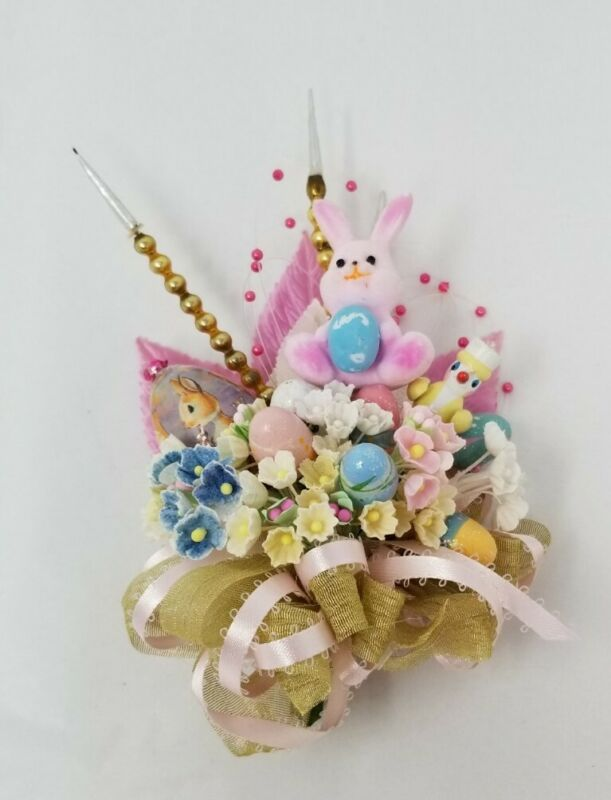 Vintage HANDMADE Easter Corsage Decoration Composition Wooden  Eggs Forget MeNot