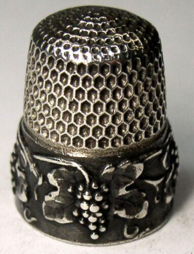 "Antique Simons Bros. Sterling Silver Thimble  ""Grape"" Design  ""S"" Mngm  Dtd 1907"