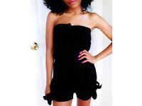 Ladies New Black Bowknot Bandeau Jumpsuit Shorts.Size 20.