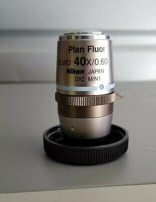 New Old Stock Nikon Plan Fluor Elwd 40x0.60 Dic Mn1 0-2 Wd 3.7-2.7 Objective
