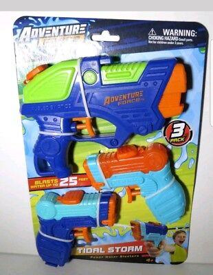Water Squirt Gun Pistol 3 Pack Power Sport Blasters Pool Toys Upto 25 Feet NEW