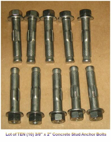 """Lot of TEN 3/8"""" x 2"""" Concrete Sleeve Wedge STUD ANCHOR BOLTS - Stainless Steel"""