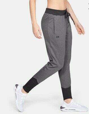 NWT Women's Under Armour Cold Gear Fleece Pants 1317895 011 Tapered Leg Gray L