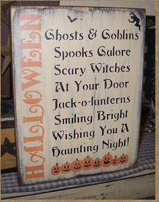 PRIMITIVE FALL HALLOWEEN SAYING SIGN~~JACK O' LANTERNs~~HALLOWEEN