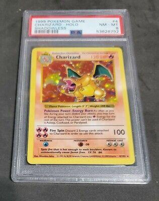 Shadowless Charizard -1999 - Pokemon Base Set - 4/102 Holo Rare - PSA 8, NM-MT