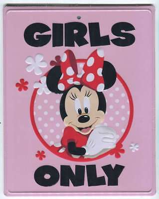 Disney Parks Minnie Mouse Girls Only Metal Door or Wall Sign New Ships Free