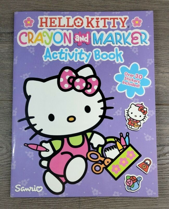 Hello Kitty Sanrio Crayon And Marker Activity Book 30 Stickers Included Coloring