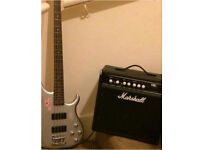 Crafter 4 String Guitar with Marshall Practice Amp