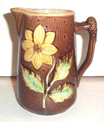 Antique English Majolica Flower Design Jug / Pitcher