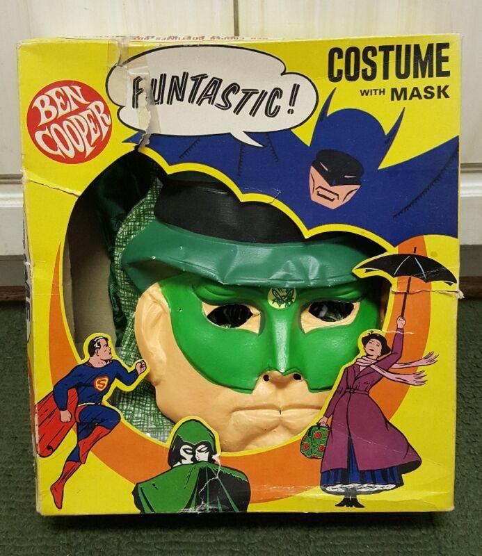 Vintage Green Hornet  Ben Cooper Halloween Costume Mask As Is