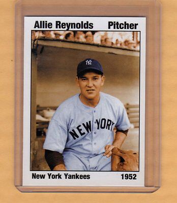1952 Allie Reynolds New York Yankees  Native American Pitcher Nyc Cab Card