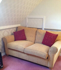 2 seater sofa with matching footstool and cushions