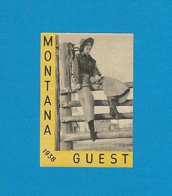 "VINTAGE ORIGINAL 1938 SOUVENIR ""MONTANA GUEST"" RANCH COWGIRL TRAVEL DECAL ART"