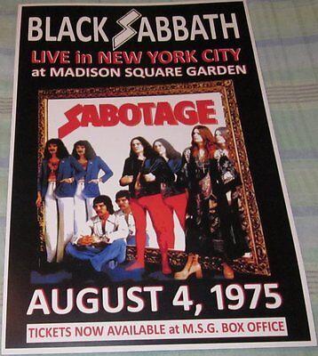 BLACK SABBATH 1975 MADISON SQUARE GARDEN REPLICA CONCERT POSTER
