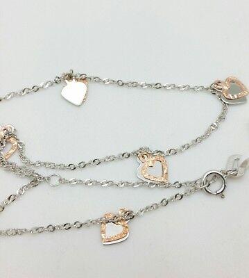 "14k Solid White Gold Heart Charm Anklet Bracelet Adjustable Chain 9"" 10"""