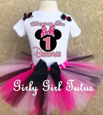 Baby Girl Minnie Mouse 1st or 2nd Birthday Outfit Tutu Dress Set